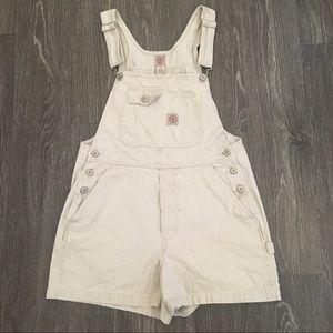 Vintage American Eagle tan/khaki overall shorts